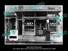 OLD LARGE HISTORIC PHOTO OF EAU CLAIRE WISCONSIN, THE APEX AUTO STORE c1920