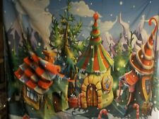 7X5ft Winter Christmas  Photography Backdrop Xmas Snow , candy cane , houses