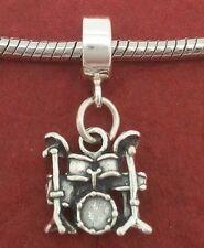 Sterling Silver Drum set Charm fits European Bracelet solid 925