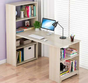 120cm Large Computer Desk with Side Storage Shelf PC Writing Table Workstation