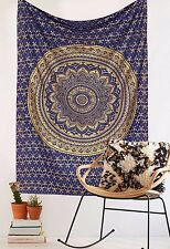 Indian Ombré Tapestry Wall Hanging Mandala Throw Hippie Gypsy Bohemian Blue Gold
