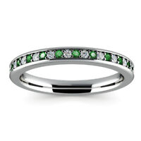 0.78Ct Emerald Gemstone Ring Solid 14kt White Gold Diamond Rings Size R