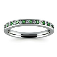 0.78Ct Emerald Gemstone Ring Solid 14kt White Gold Diamond Rings Size J K L M N