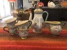 Vintage Coffee Pot Tea Kettle Set DERUTA Italy Service for 4 GORGEOUS!!!
