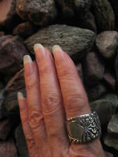Bold Design with Shield Antique Spoon Ring Size 9 R364  Western Skies Silver