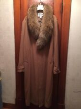 REDUCED!!!  Men's Big and Tall Long Wool Blend Coat Large Real Racoon Fur Collar