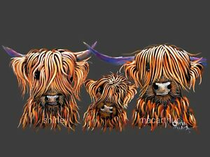 HIGHLAND COW PRINTS of Original Painting 'TANGERINES GReY ' by Shirley MacArthur