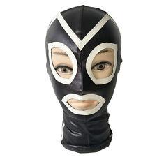 maschera bondage sexy sex toy in vinile con cerniera posteriore nera e bianca