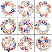 Charm Women Flower Hollow Crystal Pin Brooch Shawl Wedding Party Jewelry Gift