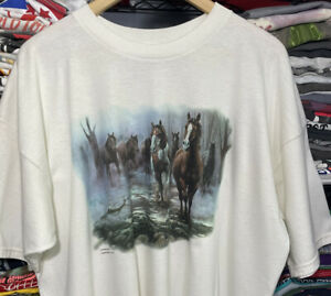 Vintage Fruit Of The Loom WILD HORSES Running Outdoor•Nature T-SHIRT XXL