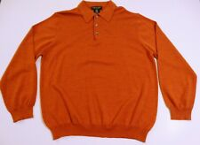 Marco Fiori Burnt Orange 100% Extrafine Merino Wool Collared Sweater NWT Large