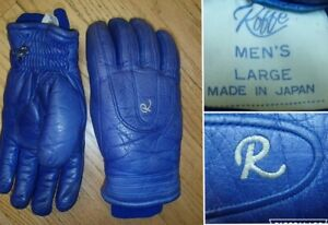 vintage 70's ROFFE royal blue leather ski gloves insulated MADE IN JAPAN mens LG