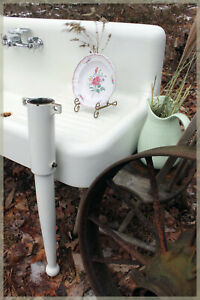 Complete 1929 Antique Farmhouse Farm Sink Set with Legs and High Backsplash