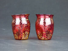 Salviati 2 red glass liquor glasses with gold leaf Murano Venetian antique pair