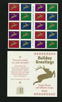 Christmas Reindeer 1998 Booklet Pane of 20 #3363a Mint NH Unfolded Plate #varies