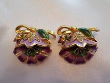 1 Pair Vintage Enameled Unique Art Deco White And Green Rhinestones Dress Clips