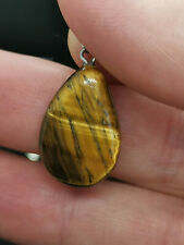 Cabochon Gemstone Pendant Natural Healing Genuine Yellow Tiger Eye Pearl