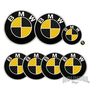 For BMW Badge Gloss Carbon Fibre Black & Yellow All Models Decals Stickers Fiber