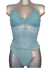New Turquoise Camisole & Thong Set UK 10 - 12 Sheer Sexy Lace Ladies
