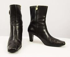 ETIENNE AGNER Dark Brown Leather Gold Tone Accent High Heel Ankle Boots Size 8 M