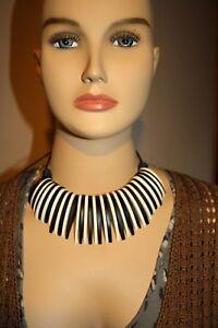 Handmade Wooden Tribal Statement Adjustable Wood Choker/Necklace Black & White