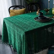 Green Hollow Cotton Tablecloths Rectangle Tassel Table Cloth Cover Wedding Decor
