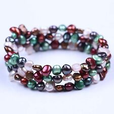 3 Rows Strands Multi-color Freshwater Baroque Pearl 5-6mm Beads Bracelet