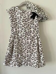 Janie & Jack Leopard Print Dress & Matching beret cap (Size: 4t)