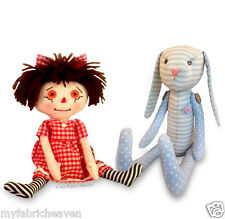 Rag Doll & Bunny Rabbit 2 X Soft Toy Fabric Sewing PATTERNS Independent Design
