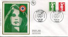FRANCE FDC - 2714 2715 1 MARIANNE DE BRIAT - 30 Septembre 1991 - LUXE sur soie