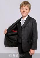 Boys Formal Dark Grey Suit 5 Piece Wedding Christening Prom 1-13 Years Milo