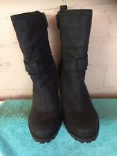 NEXT LADIES BLACK LEATHER BUCKLE ANKLE BOOTS SIZE 5/38 BARGAIN COST £70 !!