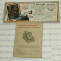 VINTAGE 1920 BURROUGHS CALCULATOR/ADDING MACHINE ADVERTISING BLOTTER! + - x ÷