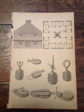 Casa de bloque-bloque y aparejos-Antiguo impresión alrededor de 1880