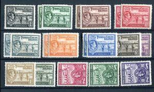 Turks & Caicos KGVI 1938-45 set of 14 + 6 shades SG194/205 MLH