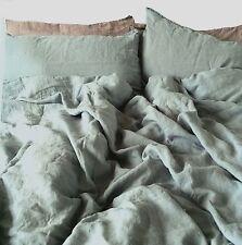 "Lino ropa de cama-set: 220x240, 2 St. 80x80, 100% lino stonewashed, ""Sky"" azul"