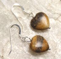 Jasper Brown Natural Gemstone Heart Shape Earrings .925 Sterling Silver Hooks