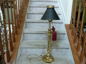 """GORGEOUS Maitland Smith Tall Brass Candlestick Table Lamp Black Metal Shade 32"""""""