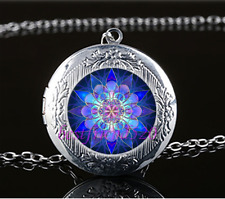 Blue Mandala Cabochon Glass Tibet Silver Locket Pendant Necklace Jewelry