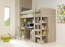 High Sleeper Kids Bed Grey Oak Finish, Cabin Bed, Loft Bed boys girls 3ft single