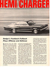 1967 DODGE HEMI CHARGER 426/425 HP ~ ORIGINAL 6-PAGE ROAD TEST / ARTICLE / AD