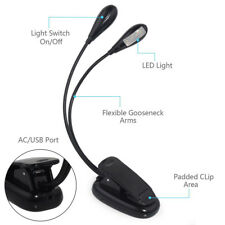 Portable Travel Flexible 8 LED Dual Heads Bright Book Clip-On Reading Light Lamp