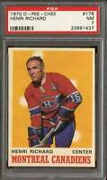 1970-71 O-PEE-CHEE #176 HENRI RICHARD PSA 7 CANADIENS HOF NICELY CENTER *DS10648