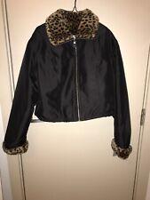 Cropped Vintage Lillie Rubin Bomber Jacket Leopard Print Size 8/10