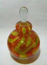Vintage Mdina Red & Yellow Glass Perfume Scent Bottle