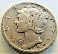 1939 S UNITED STATES, Mercury Dime grading About VERY FINE.