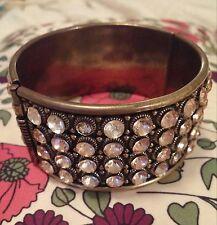 Vintage Art Deco Pink Rhinestone over Brass Gold Tone Cuff Bangle Bracelet