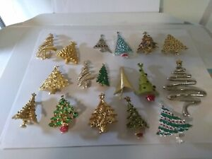 vintage Christmas tree brooch pin lot of 17