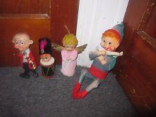 4 Vintage Christmas Elves Angels Drummer- Felt  Dolls Made in Japan