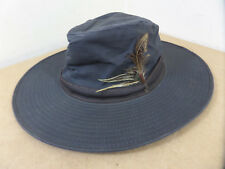 Barbour D596 Waxed Cotton Outdoor Hat Small 55cm Leather Band Green Vintage